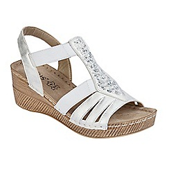 Lotus - White 'Saltaran' mid wedge heel T-bar sandals