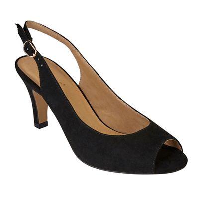 Lotus - Black suedette 'Sommer' high stiletto heel slingbacks