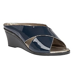 Lotus - Navy leather 'Trino' mid wedge heel mules