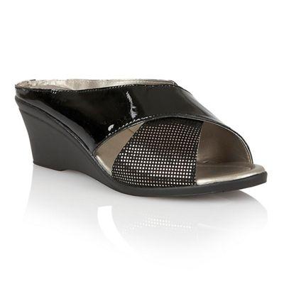 Lotus - Black patent leather 'Trino' mid wedge heel mules
