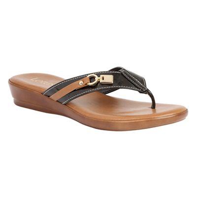 Lotus Ladies MARIETA Black Diamante Toe Post Sling Back Elasticated Sandals -UK 7 (EU 41)