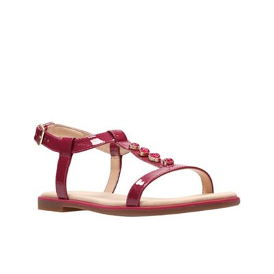 Clarks - Pink patent leather 'Bay Blossom' T-bar sandals