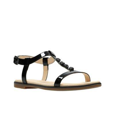 dbc32596a9ee4e Clarks Black patent leather  Bay Blossom  T-bar sandals
