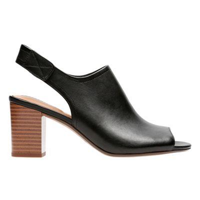 Clarks - Black leather 'Deva Jayleen' mid block heel peep toe sandals