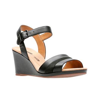 Clarks - Black leather 'Lafley Aletha' high wedge heel peep toe sandals