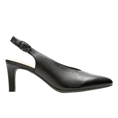 Clarks - Black leather 'Calla Violet' mid heel court shoes