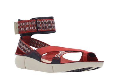 Clarks - Red 'Tri Rush' ankle strap sandals
