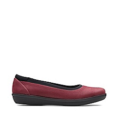 Clarks - Wine Leather 'Ayla' Shoes