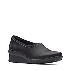 Clarks - Black 'Caddell Jaylin' mid wedge heel slip-on shoes