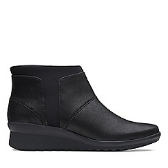 Clarks - Black 'Caddell Sloane' mid wedge heel boots