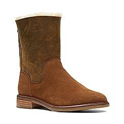 Clarks - Dark tan suede 'Clarkdale Axel' calf boots