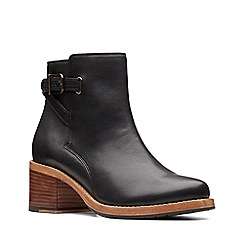 Clarks - Black leather 'Clarkdale Jax' mid block heel ankle boots
