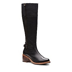 Clarks - Black leather 'Clarkdale Sona' mid block heel knee high boots
