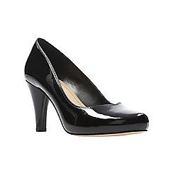 Clarks - Black patent leather 'Dalia Rose' high platform heel court shoes