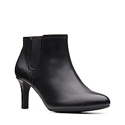Clarks - Black leather 'Dancer Sky' mid heel boots