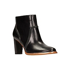 Clarks - Black leather 'Ellis Betty' high block heel ankle boots