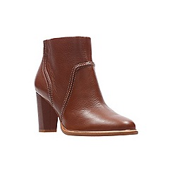 Clarks - Tan leather 'Ellis Betty' high block heel ankle boots