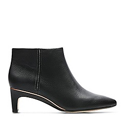 Clarks - Black Leather 'Ellis Eden' Mid Kitten Heel Boots