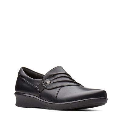 Clarks - Black leather 'Hope Roxanne' mid wedge heel shoes