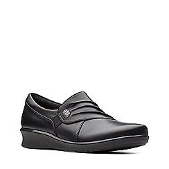 Clarks - Black leather 'Hope Roxanne' mid wedge heel shoes