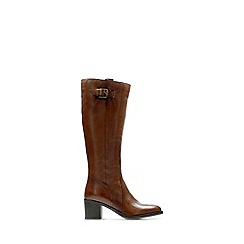 Clarks - Tan leather 'Mascarpone Ela' mid block heel knee high boots