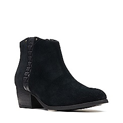 Clarks - Black suede 'Maypearl Fawn' mid block heel ankle boots