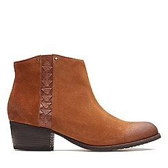 Clarks - Dark tan suede 'Maypearl Fawn' mid block heel ankle boots