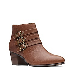 Clarks - Dark tan leather 'Maypearl Rayna' mid block heel ankle boots