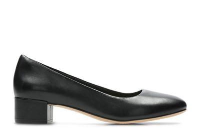 Clarks - Black leather 'Orabella Alice' block heel court shoes