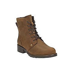 Clarks - Brown leather 'Orinoco Spice' lace-up boots