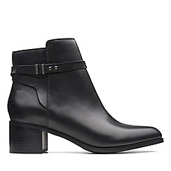 Clarks - Black leather 'Poise Freya' mid block heel boots