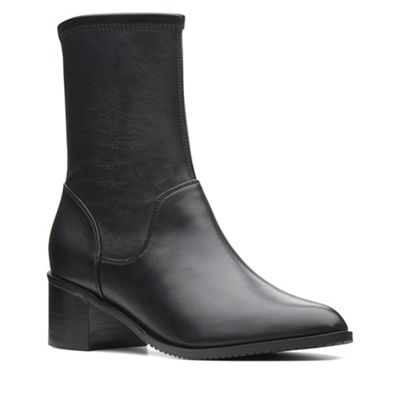 Clarks   Black Leather 'poise Leah' Mid Block Heel Boots by Clarks