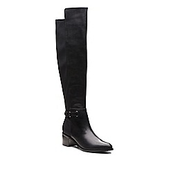 Clarks - Black leather 'Poise Orla' mid block heel knee high boots