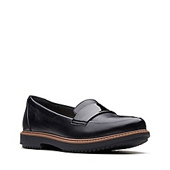 Clarks - Black leather 'Raisie Arlie' loafers