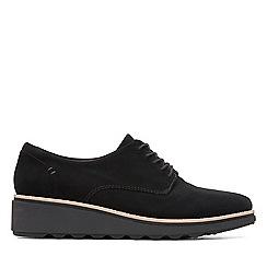 Clarks - Black nubuck 'Sharon Noel' mid wedge heel shoes