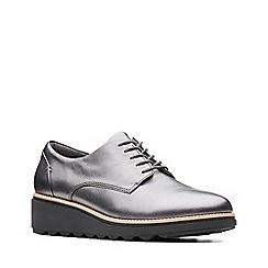 Clarks - Metallic grey leather 'Sharon Noel' mid wedge heel shoes