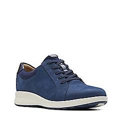 Clarks - Navy nubuck 'Un Adorn' lace-up shoes