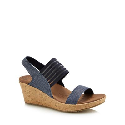 Skechers - Navy 'Beverlee Sittin Kittin' mid wedge heel sandals