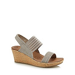 Skechers - Taupe 'Beverlee Sittin Kittin' mid wedge heel sandals
