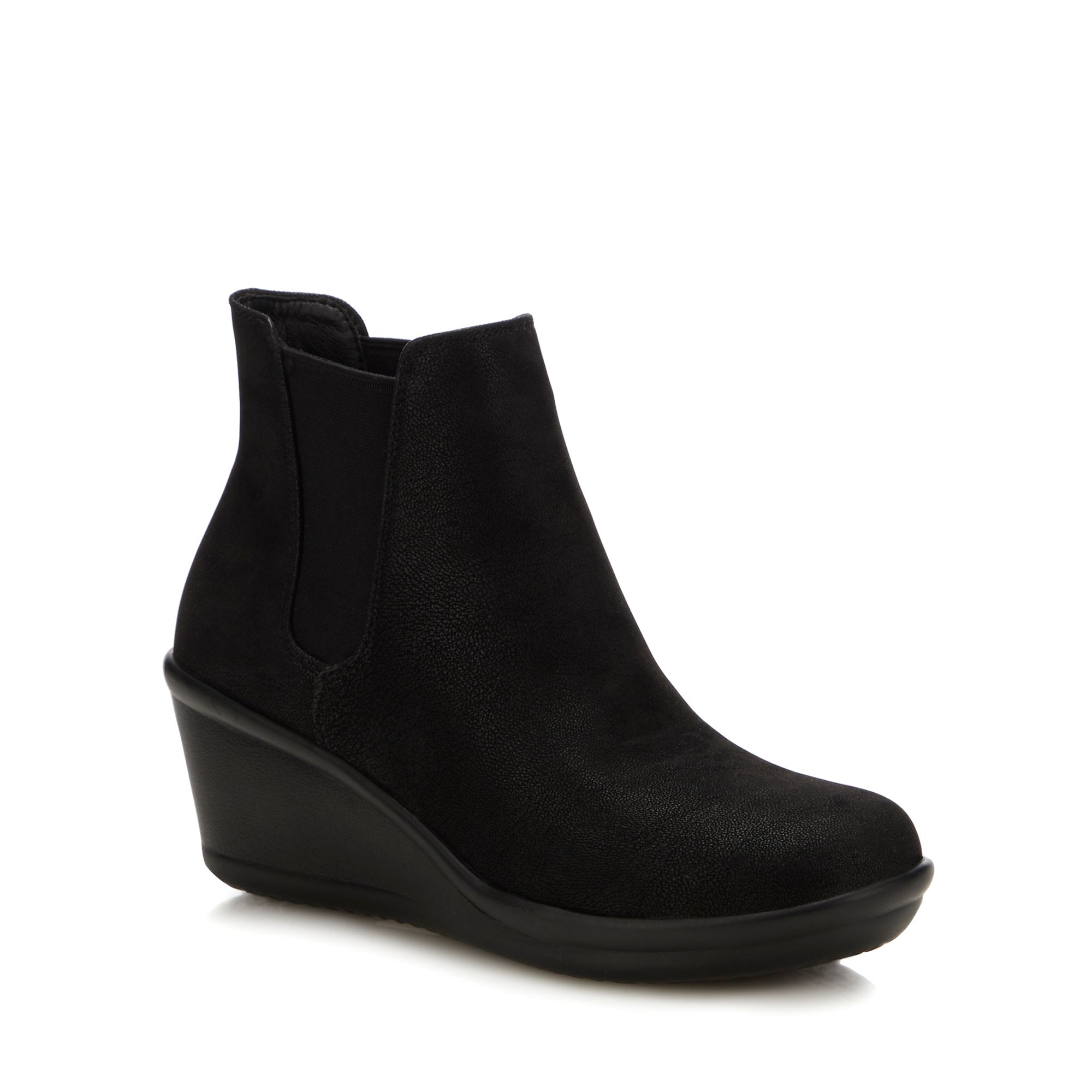 c0168615e1b Details about Skechers Womens Black  Rumblers Beam Me Up  Wedge Heel  Chelsea Boots