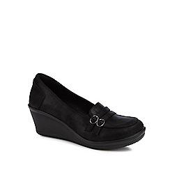 Skechers - Black 'Rumb Frilly' wedge heel loafers