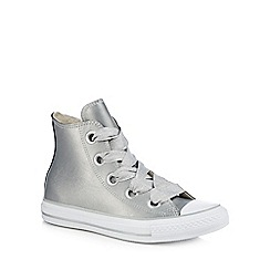 Converse - Silver leather 'Big Eyelets' hi-top trainers