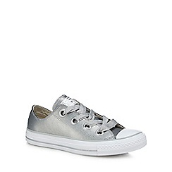 Converse - Silver leather 'Big Eyelets' trainers