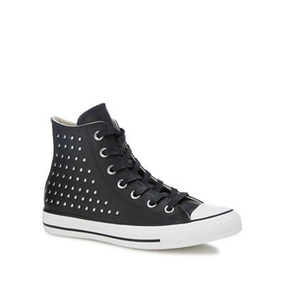1c72f165b83eba Converse Black leather  Chuck Taylor All Star  studded high top trainers