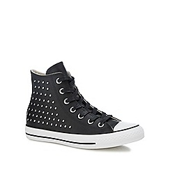 c97439f2e17b5e Converse - Black leather 'Chuck Taylor All Star' studded high top trainers