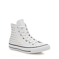 Converse - White leather 'Chuck Taylor All Star' studded hi-top trainers