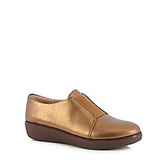 FitFlop - Bronze leather 'Lacless' slip-on Derby shoes