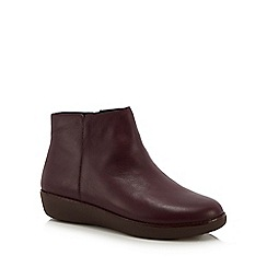 FitFlop - Plum leather 'Ziggy' ankle boots
