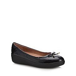 FitFlop - Black patent 'Superbendy' flatform heel ballet pumps