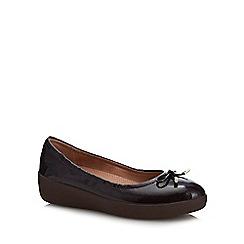 FitFlop - Brown patent 'Superbendy' flatform heel ballet pumps